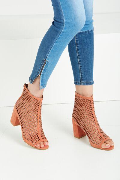 Savannah Perf Peep Toe Sock Boot, ANTIQUE PEACH