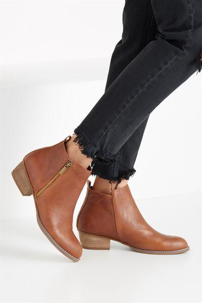 Benji Zip Boot, TAN SMOOTH