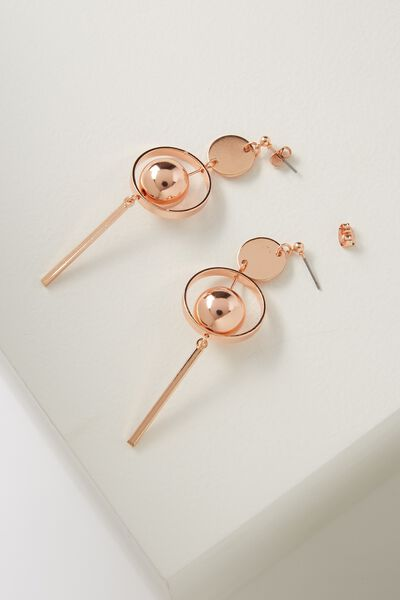 Ball Statement Earring, ROSE GOLD