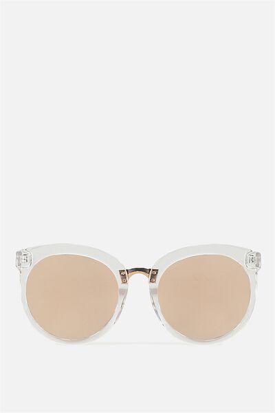 Mia Full Frame Sunglasses, CLEAR/ROSE SILVER