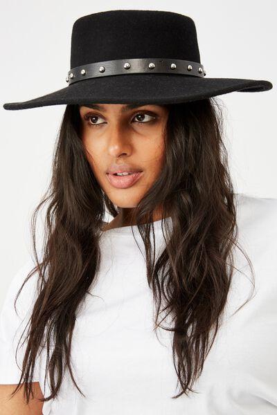 Felicity Felt Boater Hat, BLACK