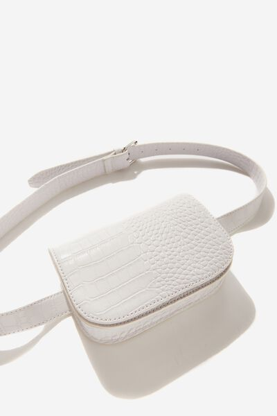 Aimee Rectangle Belt Bag, WHITE CROC