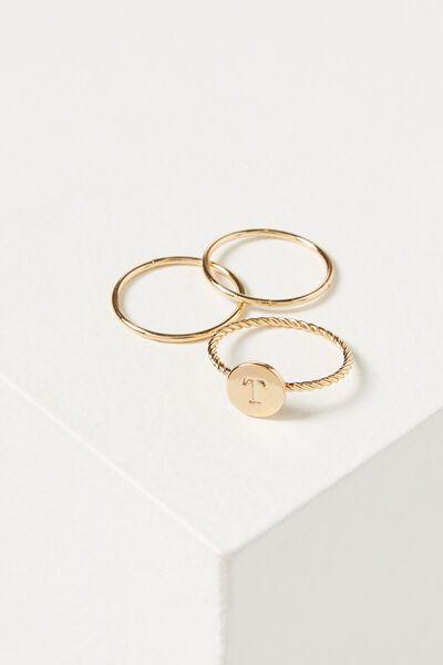 Letter Pendant Ring, GOLD - T