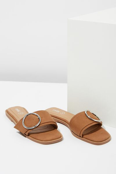 Halle Buckle Slide, TAN NUBUCK