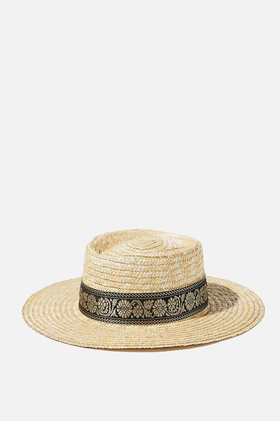 Olivia Woven Straw Boater, NATURAL/BLACK DETAIL TRIM