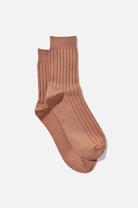 Slinky Ribbed Sock, COCOA BEAN