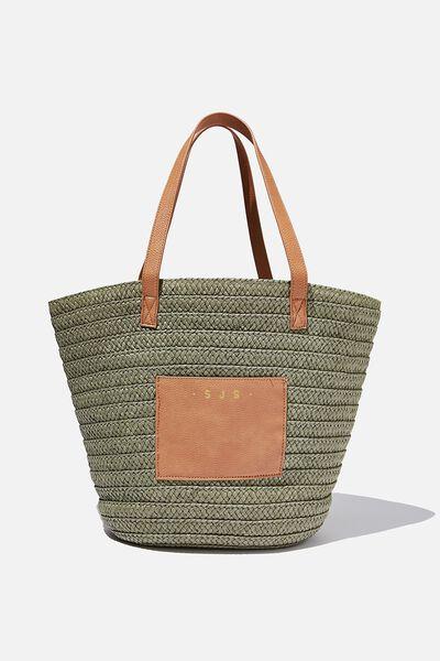 Personalised Basket Tote, KHAKI W TAN PU