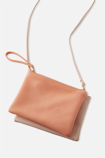 Dakota Double Pouch Cross Bag, CORAL/BLUSH