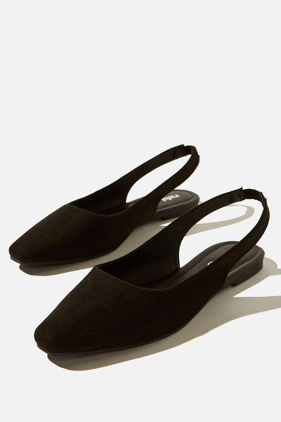 Essential Lili Square Toe Slingback, BLACK MICRO/BLACK