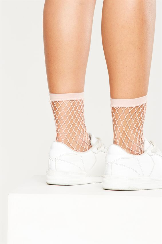 Mid Length Freida Fancy Sock, BLUSH MINI FISHNET