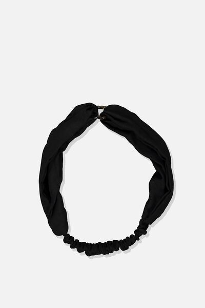 Tort Ring Headband, BLACK WOVEN/TORT
