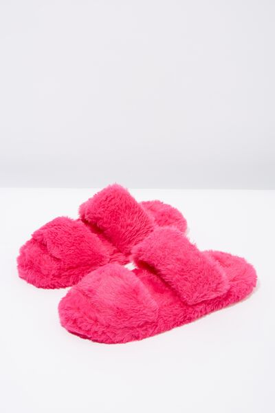 Double Strap Fluff Slipper, FUSCHIA PINK