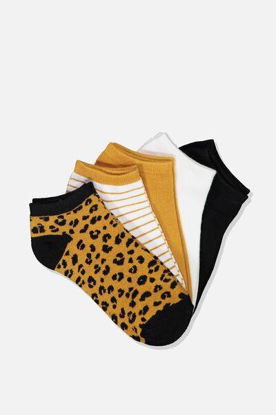 5Pk Ankle Sock, RUST LEOPARD