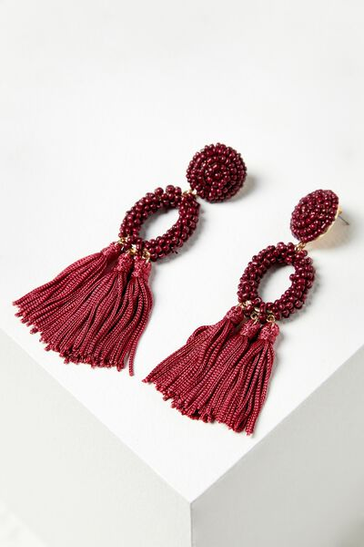 Beaded Hoop Tassel Statement Earring, RASPBERRY