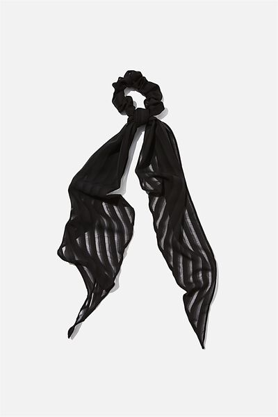New York Convertible Scrunchie, BLACK SELF STRIPE
