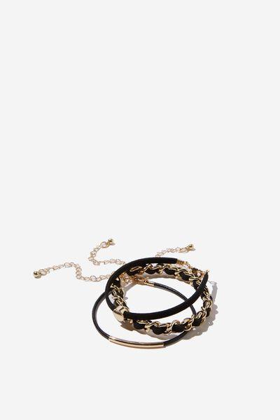 Polly Romance Bracelet Set, BLACK