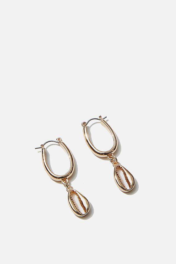 Luxe Layers Cowrie Hoop Drop, GOLD