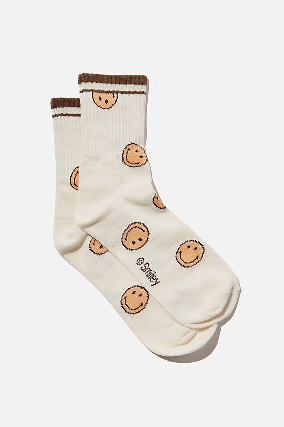 Smiley Have A Nice Day Crew Socks, LCN SMI SMILEY RETRO
