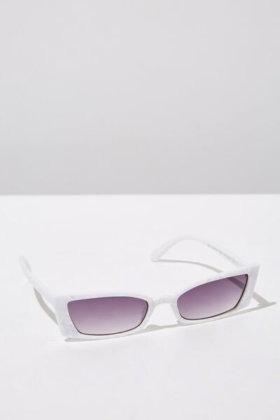 Tayla Square Frame Sunglass, CRYSTAL WHITE