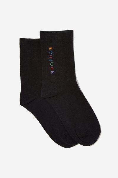 Embroidered Crew Sock, BLACK/BONJOUR