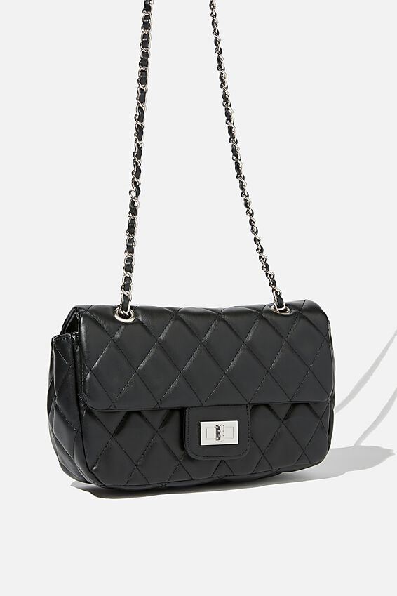 Hailey Quilted Cross Body Bag, BLACK