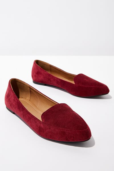 Peta Point Loafer, BLACKBERRY VELVET RIB