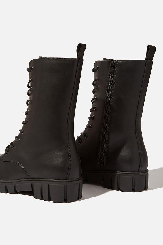 Jacquie Combat Midi Lace Up Boot, BLACK