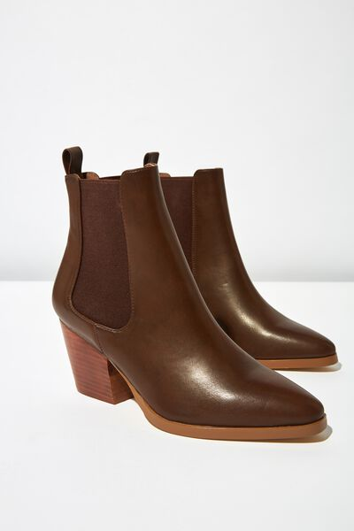 Sophia Gusset Boot, DARK TAN SMOOTH