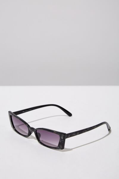 Tayla Square Frame Sunglass, CRYSTAL BLACK