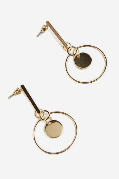 Drop Hoop Earring, GOLD