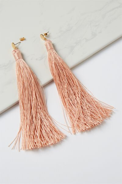 Shoulder Duster Tassel Earring, PINK