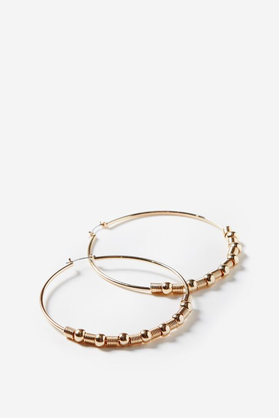 Beaded Hoop Earring, GOLD