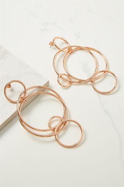 Hoop Links Earring, ROSE GOLD