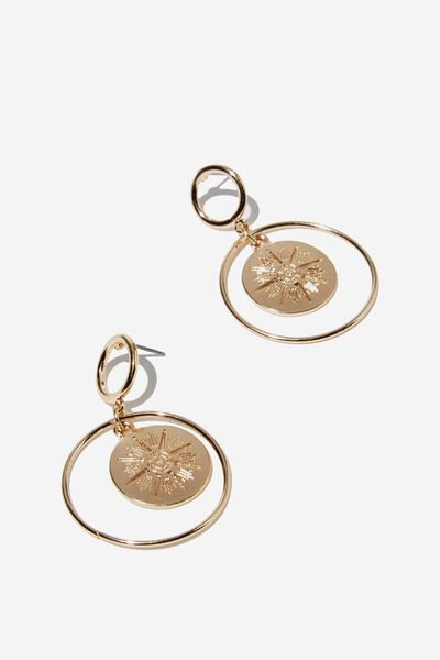 Freedom Modern Metals Medallion Earring, GOLD