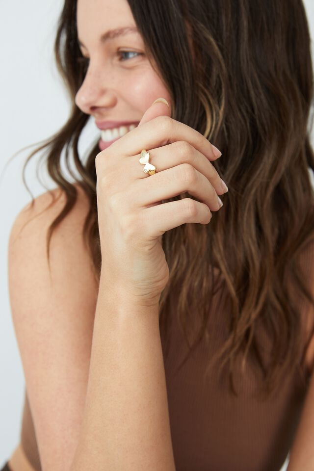 Premium Single Ring, GOLD PLATED BUTTERFLY SIGNET
