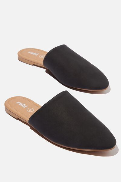 Essential Avery Almond Toe Mule, BLACK NUBUCK