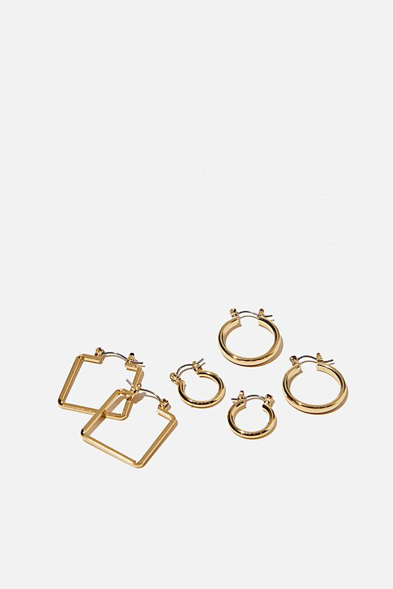 3Pk Luxe Layers Hoops, GOLD BASIC SHAPES