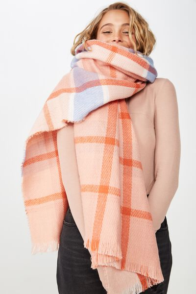 Danielle Double Layer Scarf, BLUSH CHECK