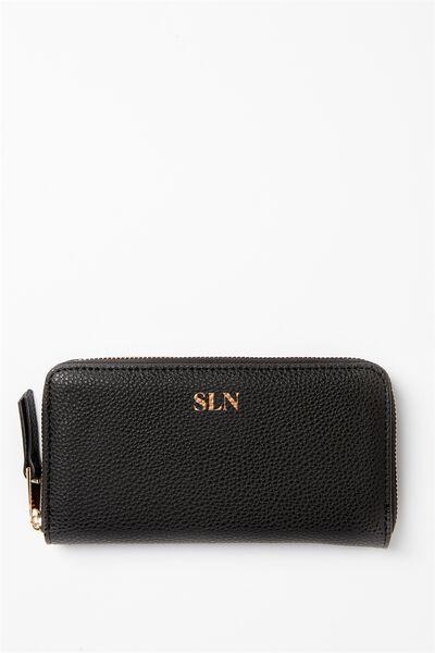 Personalised Audrey Zip Around Wallet, BLACK