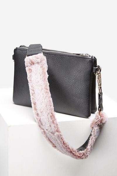 Short Bag Strap, BURNISHED LILAC FUR