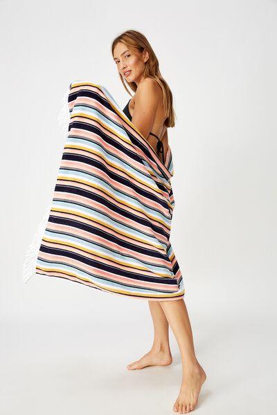 Bondi Rectangle Towel, RAINBOW VERTICAL STRIPE