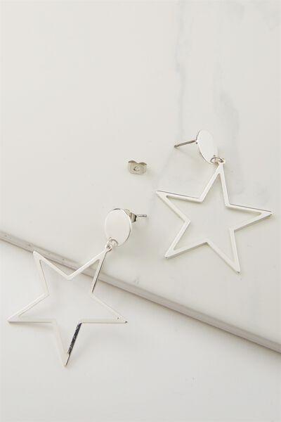 Quinn Star Earring, SILVER