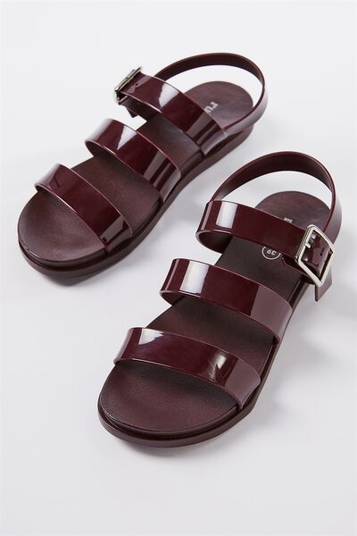 Luca Triple Strap Jelly Sandal, BLACKBERRY MONO