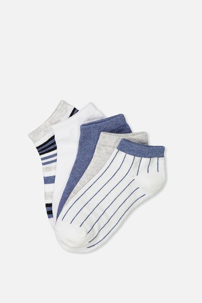 5Pk Ankle Sock, BLUE STRIPE