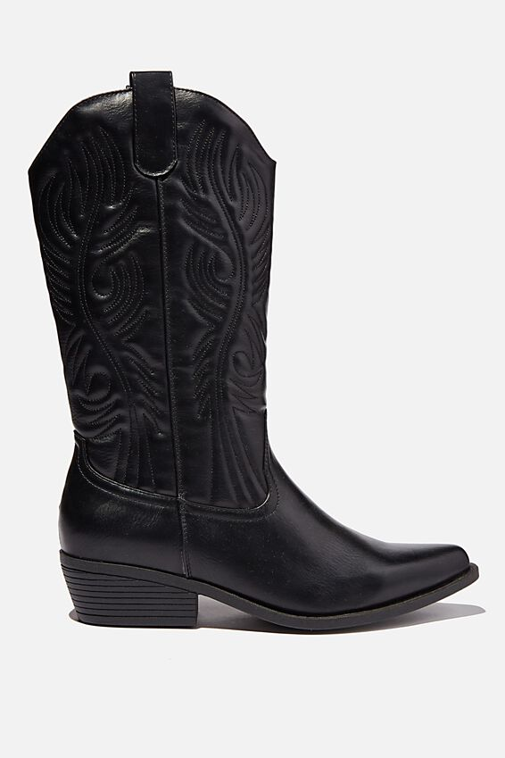 Devon Tall Western Boot, BLACK SMOOTH