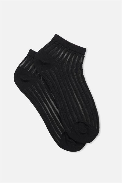 Lexi Sheer Ankle Sock, BLACK VERTICAL STRIPE