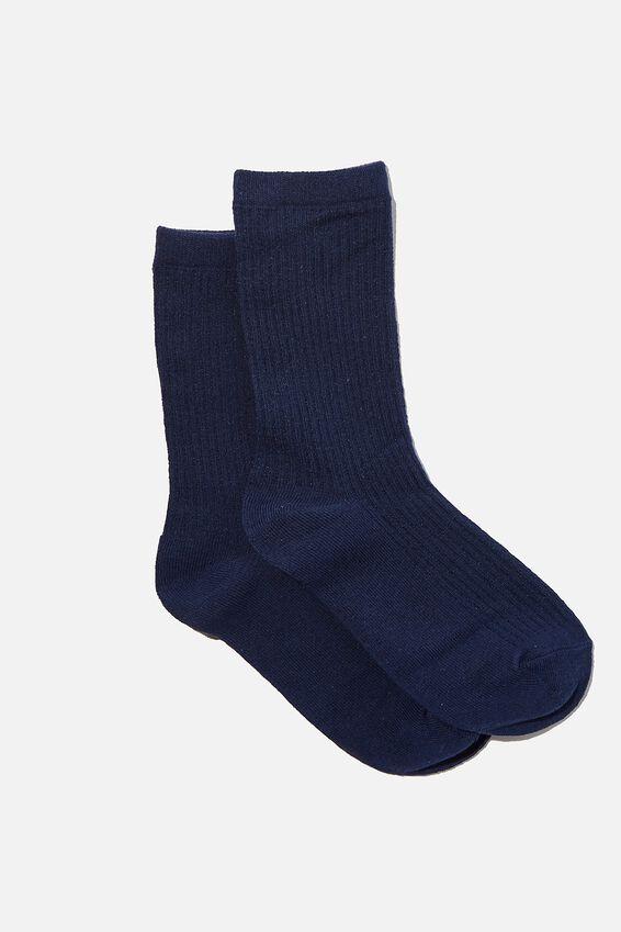 Everyday Rib Sock, NAVY
