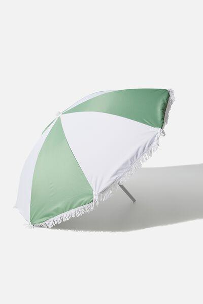 Coolum Beach Umbrella, SAGE COLOUR BLOCK