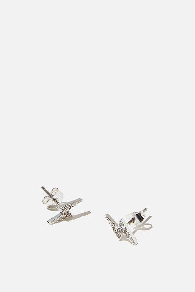 Premium Stud Earrings, LIGHTNING STERLING SILVER PLATED