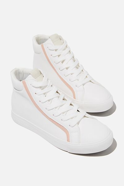 Emmy High Top Sneaker, WHITE GREY PINK